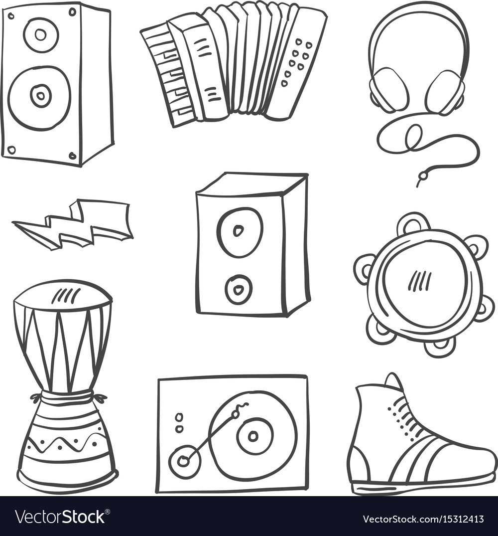 Collection doodle style music theme vector image
