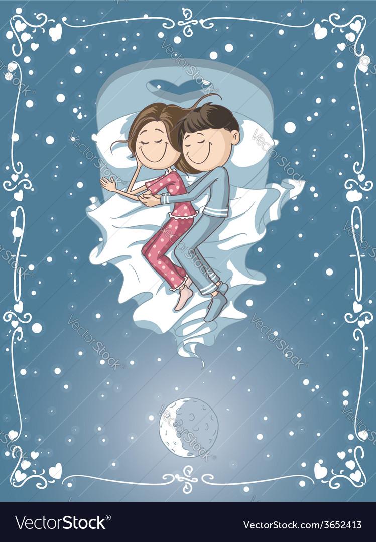 Cute Cartoon Couple Cuddles in Bed