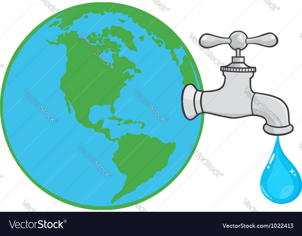 Earth Globe With Water Faucet Royalty Free Vector Image