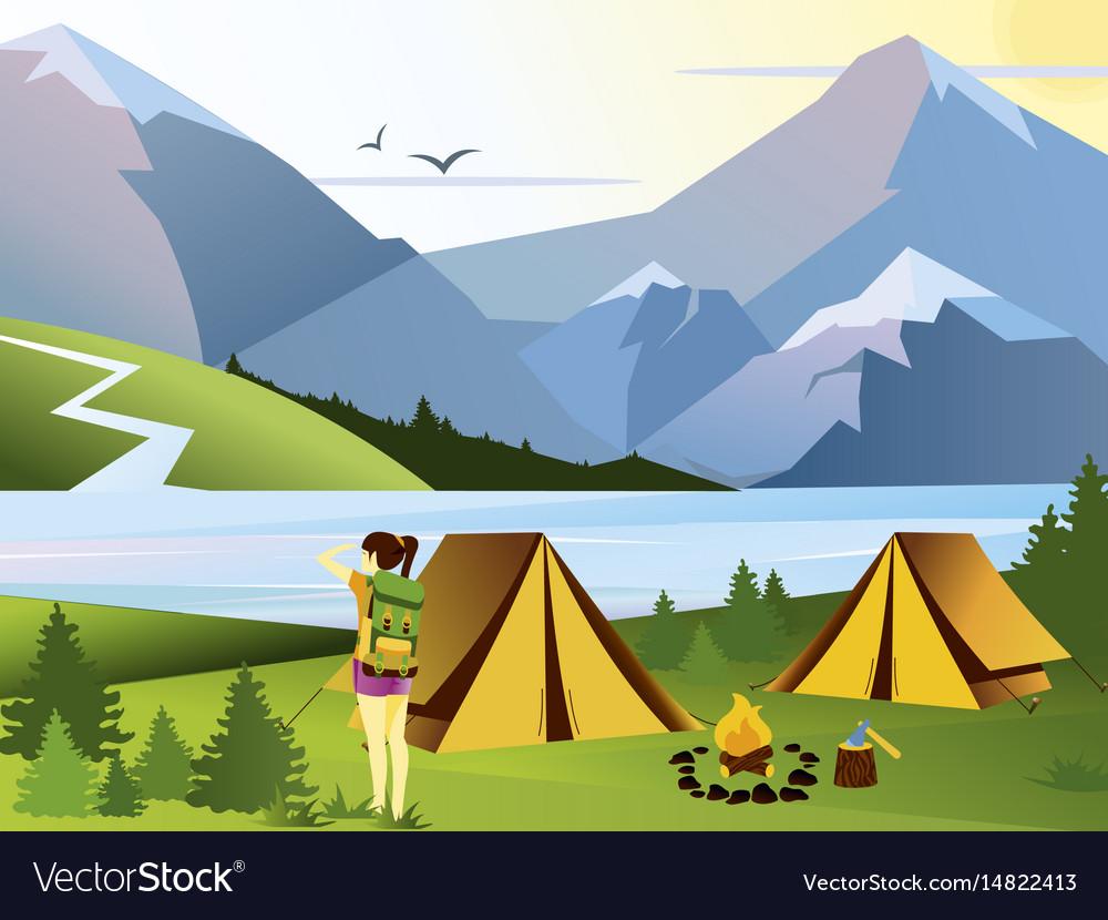 Flat camping girl traveler