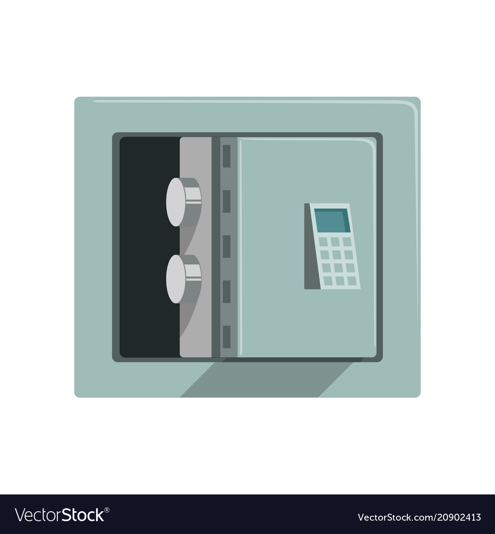 Grey metal armored opened safe box safety