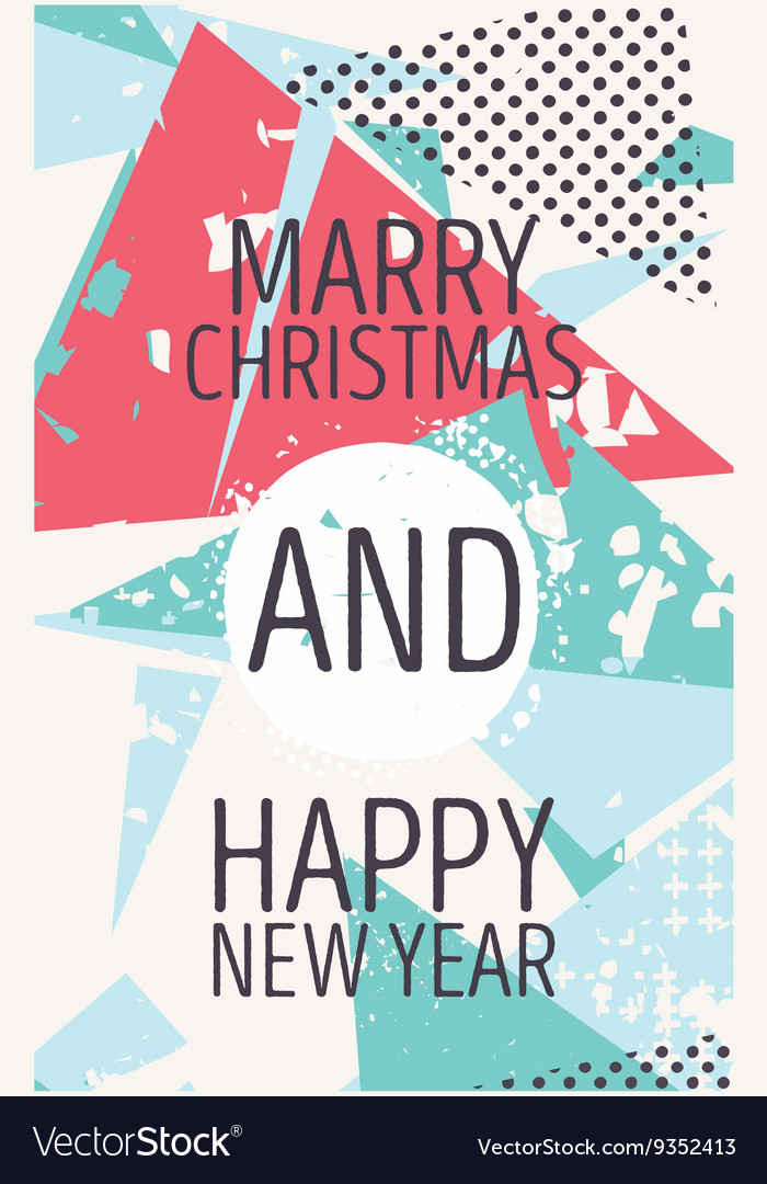 Happy new year and marry christmas card