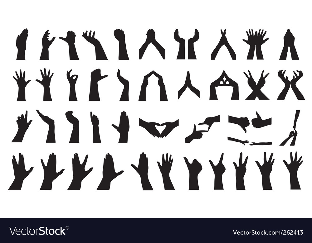 Human hand silhouettes set