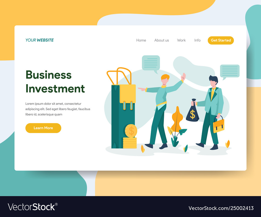 Landing page template business investment