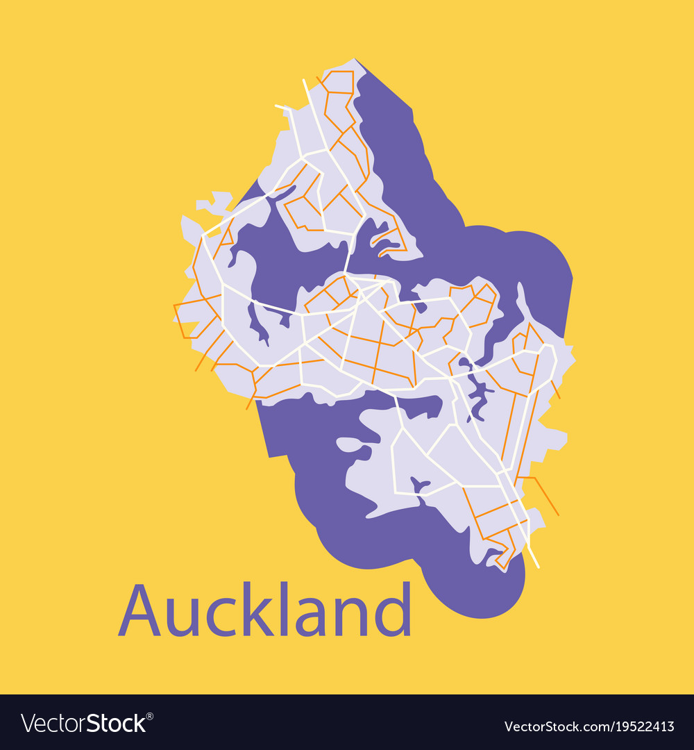 Map - auckland new zealand - flat Royalty Free Vector Image