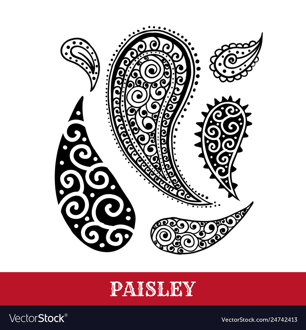 Paisley motifs ink pen isolated