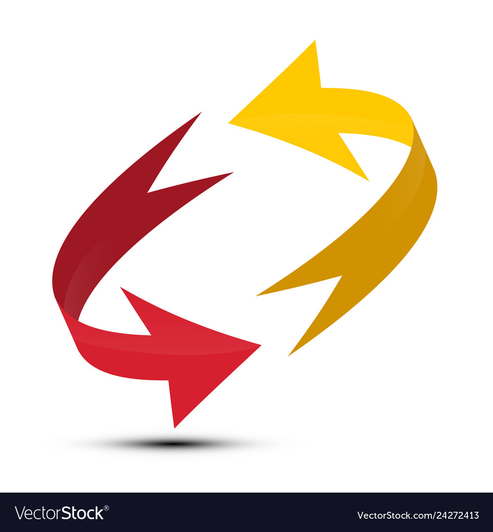 Red and yellow arrows spinning in circle double