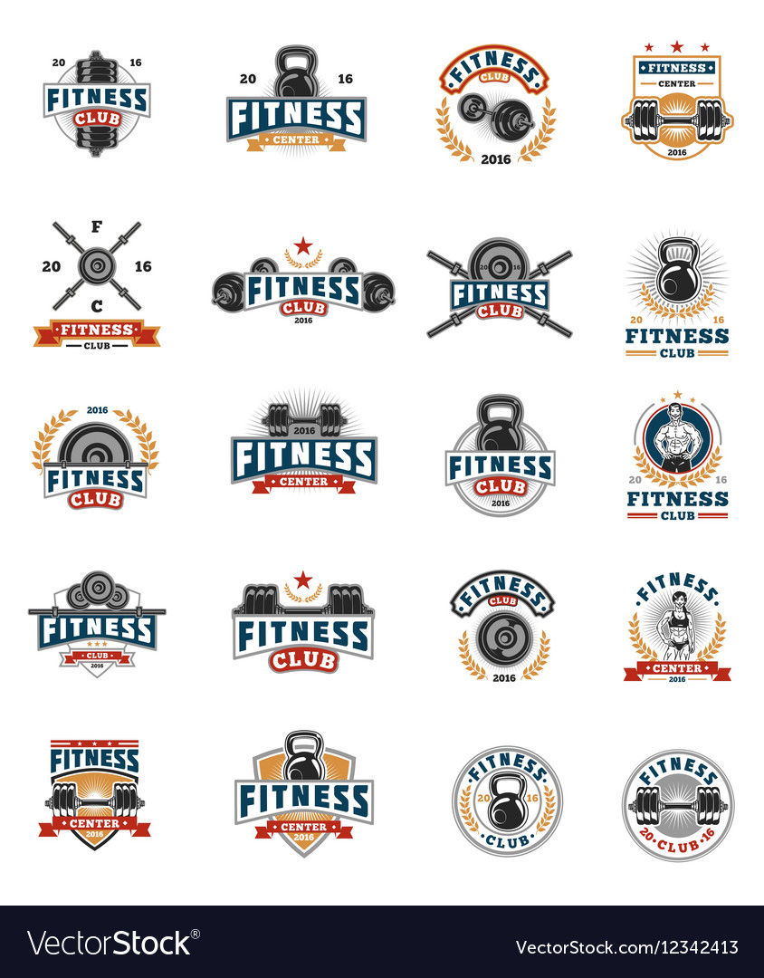 Set bodybuilding badges stickers isolated on
