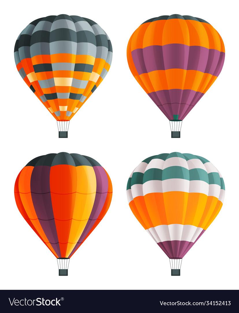Set four colorful hot air balloons aircraft