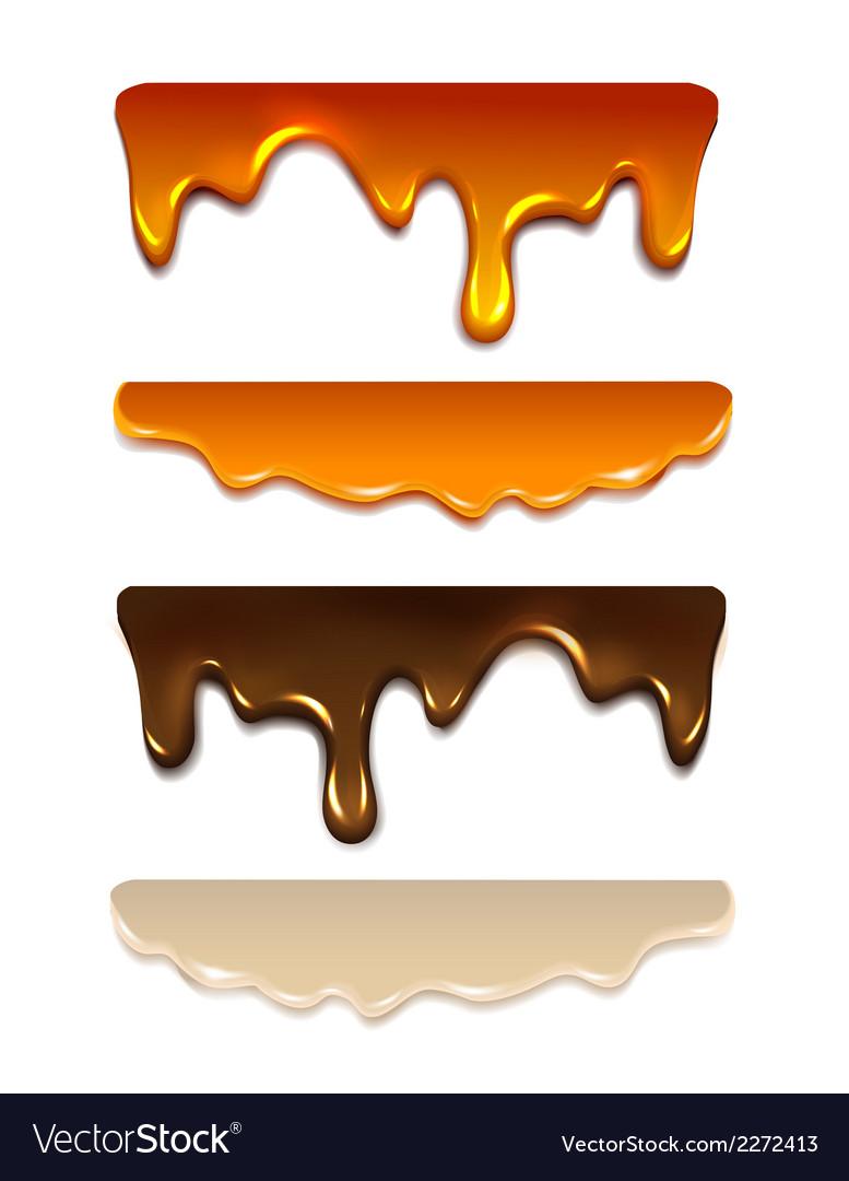 Set Melting chocolate milk cream liquid caramel