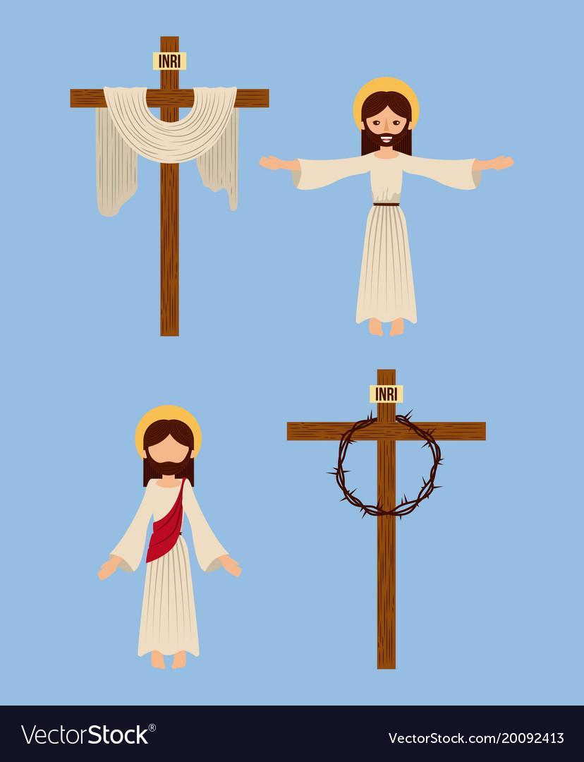 Set of icons christianity religious symbol