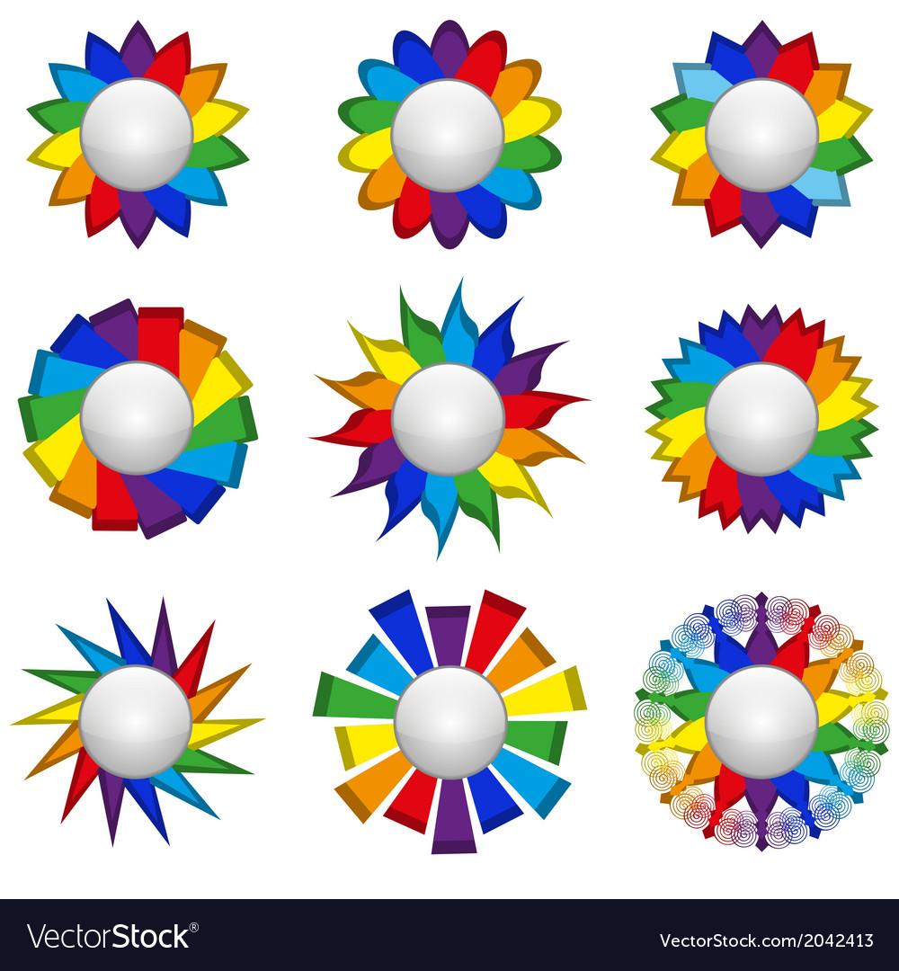 Set of nine icons of rainbow on a white background