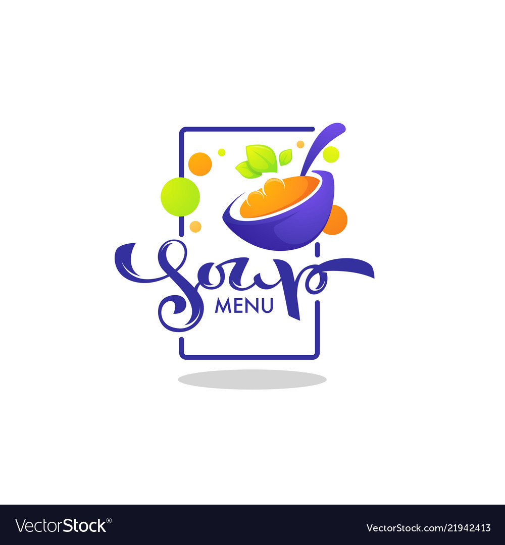 Soup menu logo template with image of cartoon