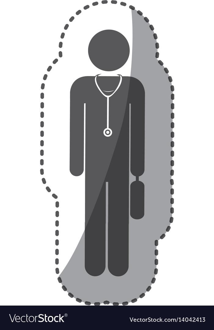 Sticker monochrome silhouette pictogram doctor