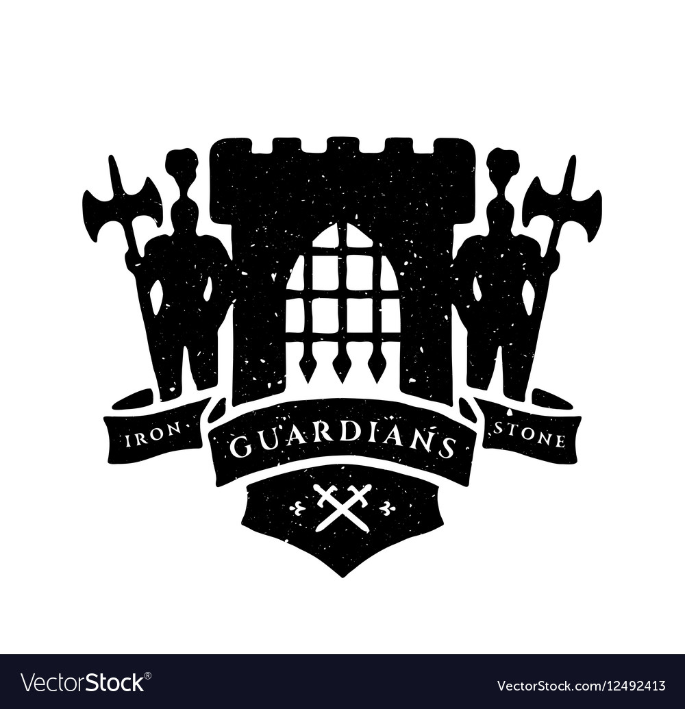 The fortress Knights and ribbon for text vector image