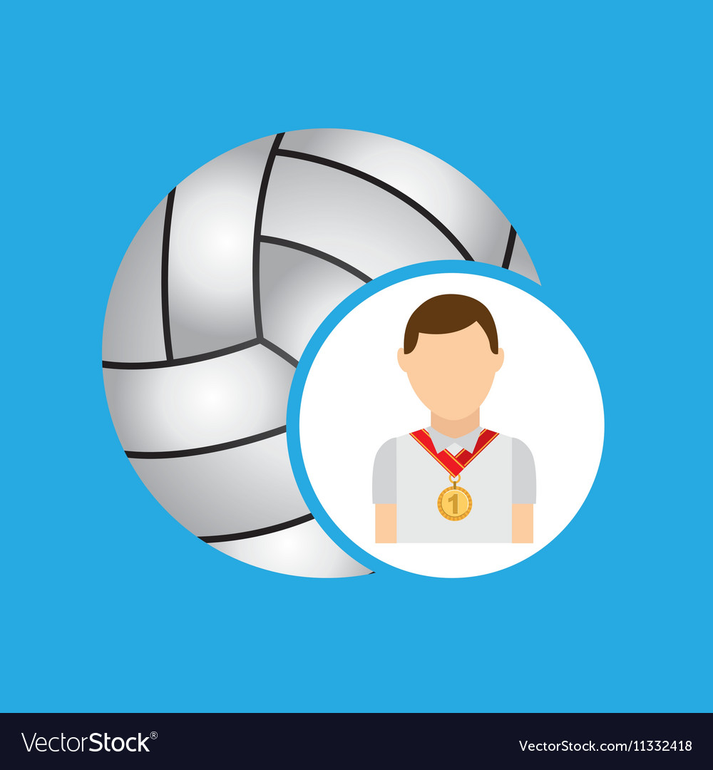 Athlete medal volley ball icon graphic