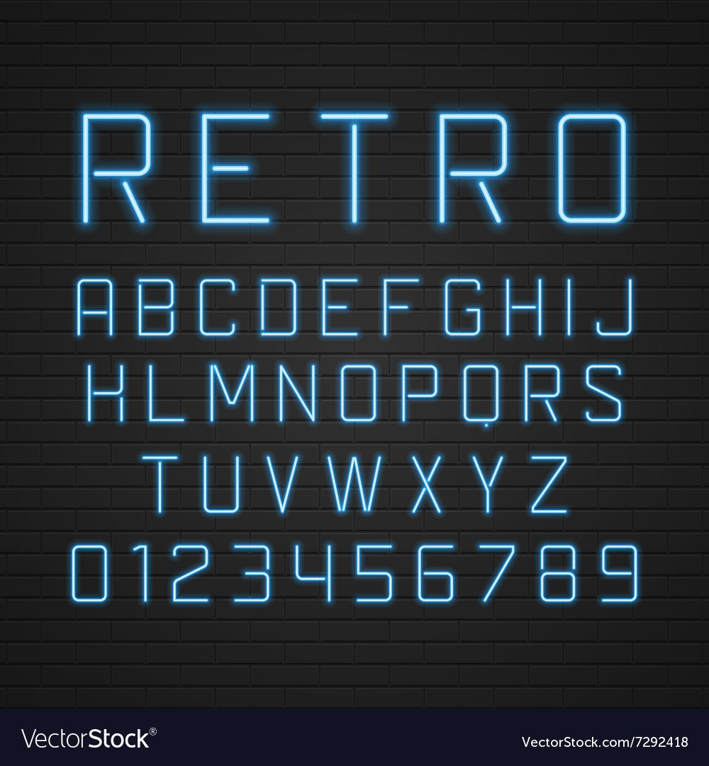 Design retro signboard letters with light