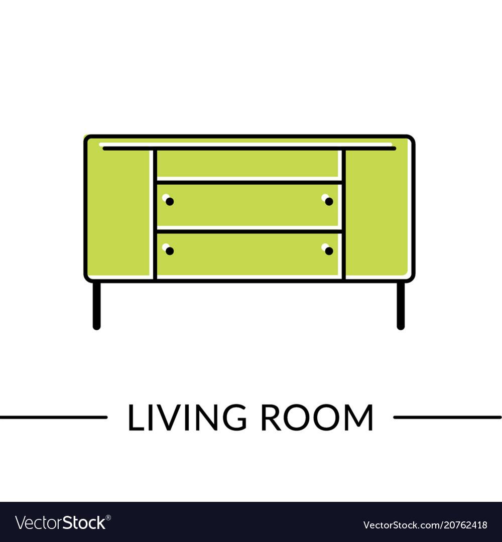 Dresser living room furniture vector image