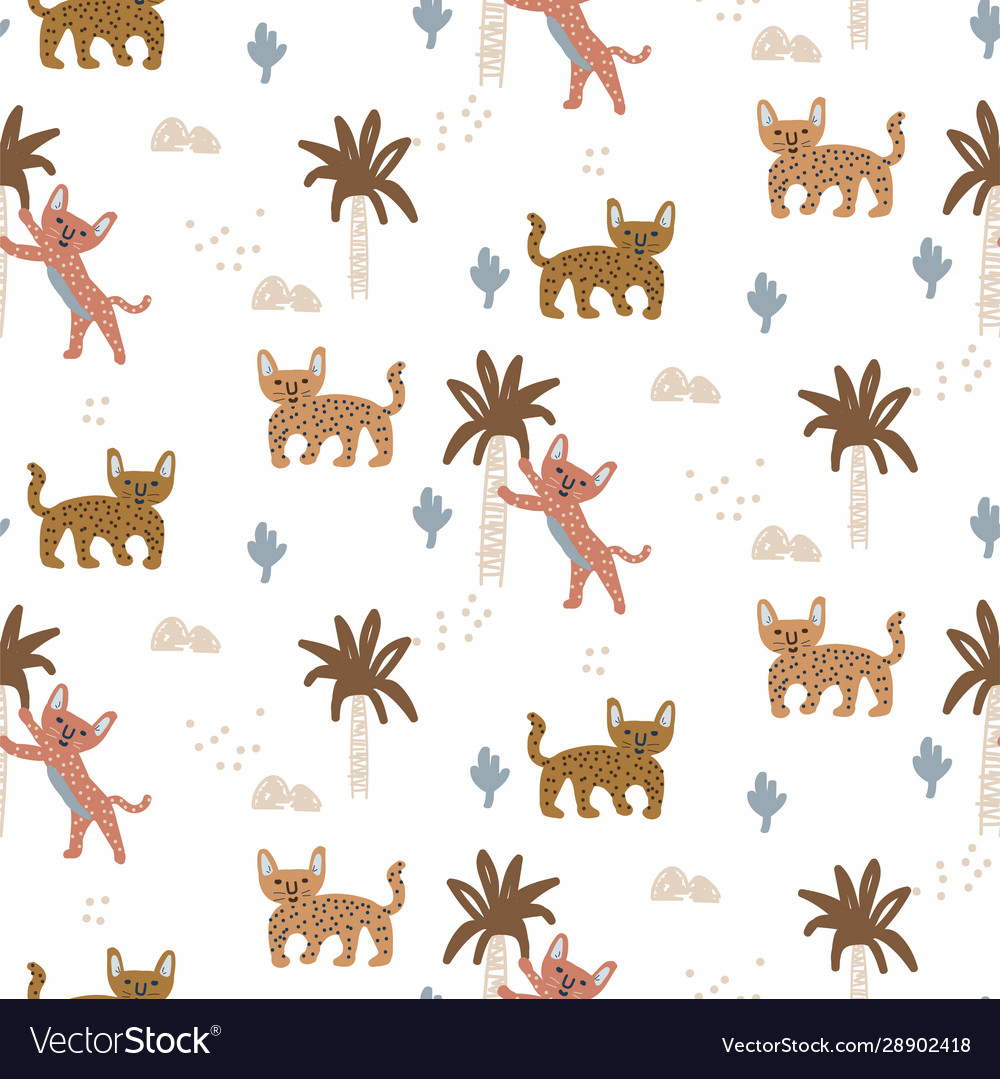 Exotic wild cat seamless pattern with abstract