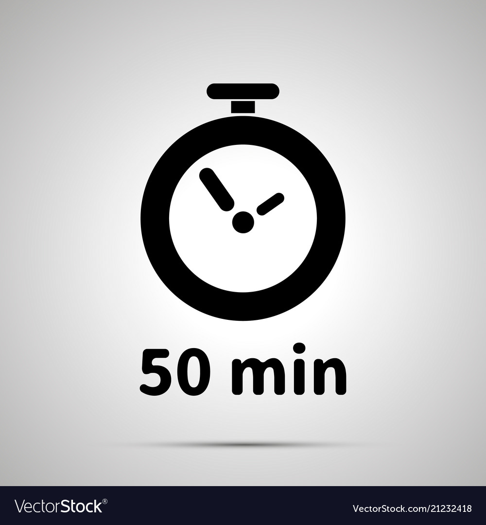 Fifty minutes timer simple black icon with shadow