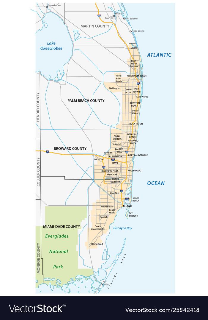 Miami metropolitan or greater miami area map