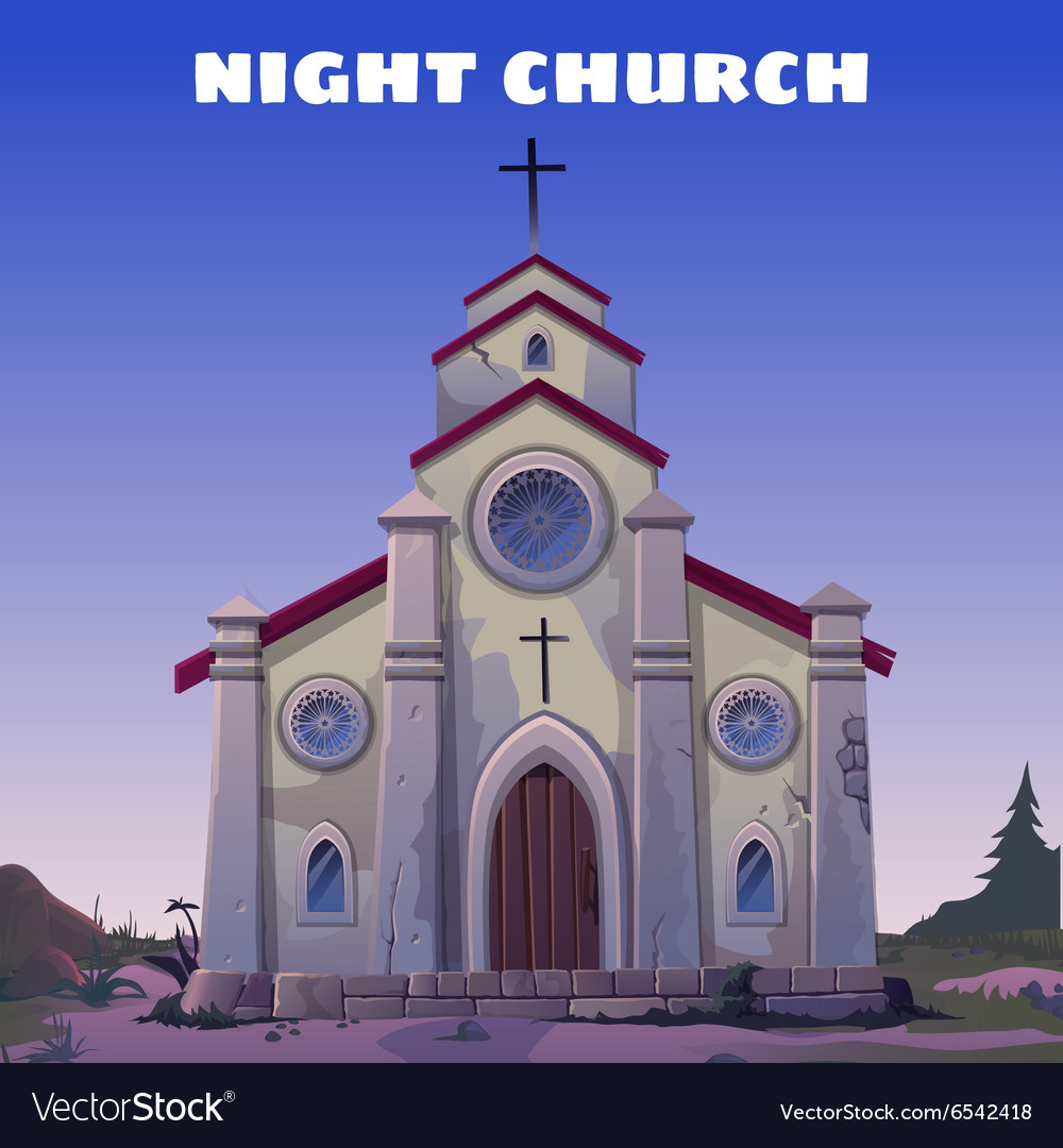 Old Church closeup in the Wild West at night