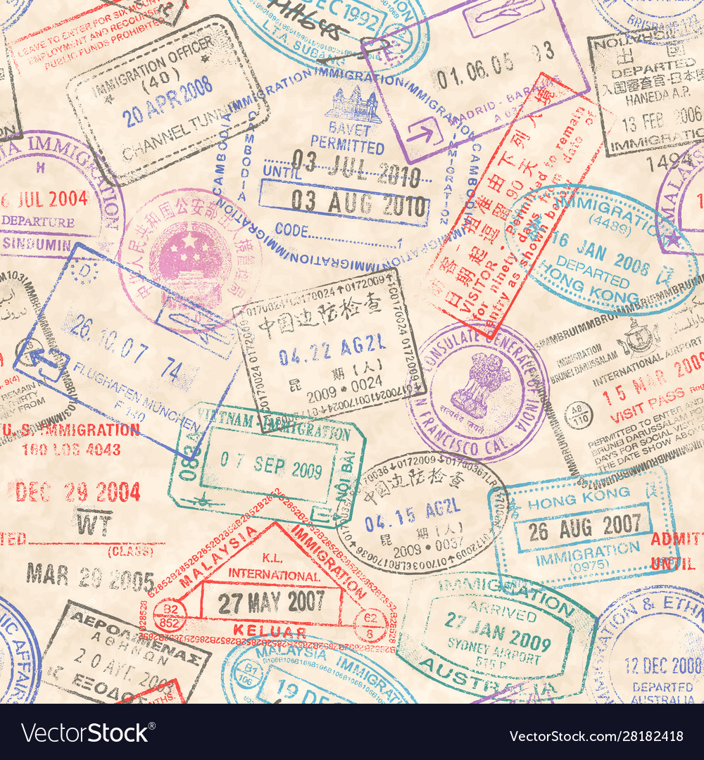 Passport stamps seamless texture