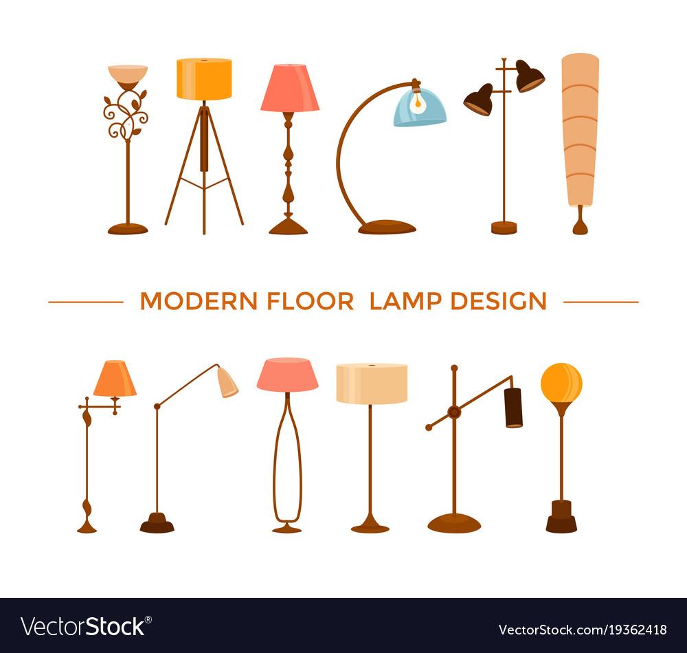 Cartoon Floor Lamps Light Vector Image