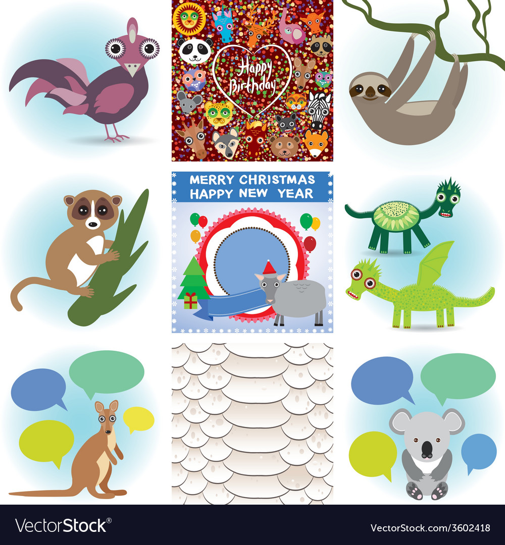 Set Of Funny Animals Greeting Cards Happy Birthday