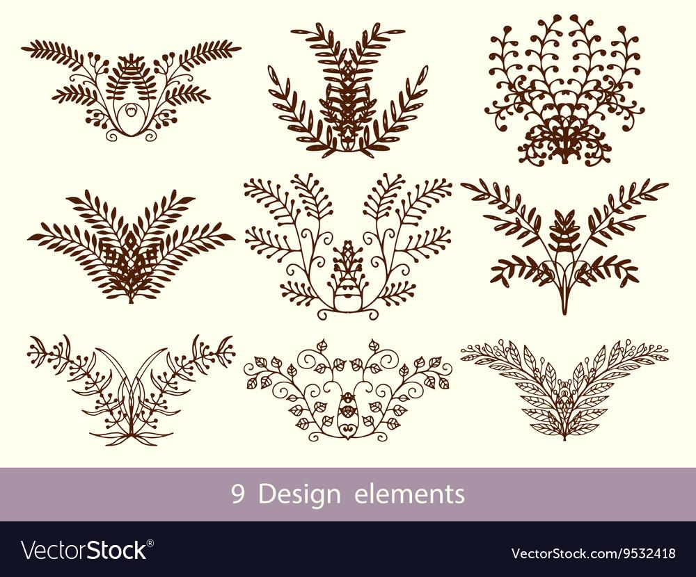 Set of Hand Drawn Doodle Design Elements
