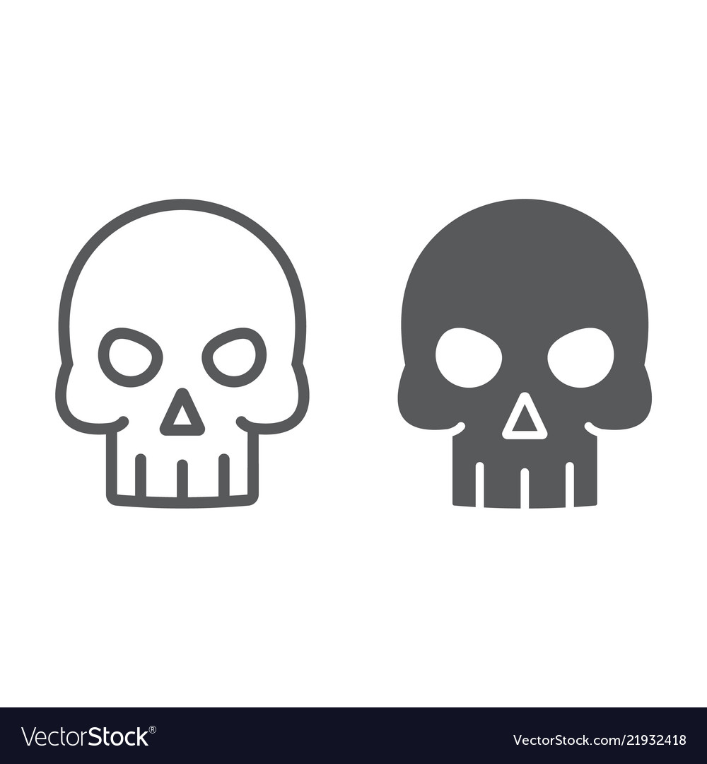 Skull line and glyph icon halloween