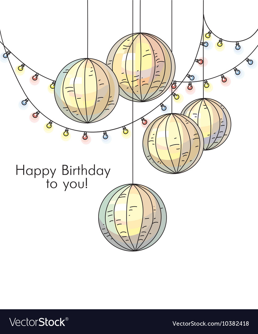 Stylish happy birthday card in romantic style with