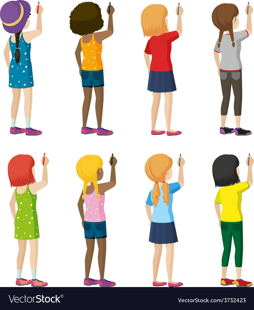 a group of female faceless kids writing royalty free vector