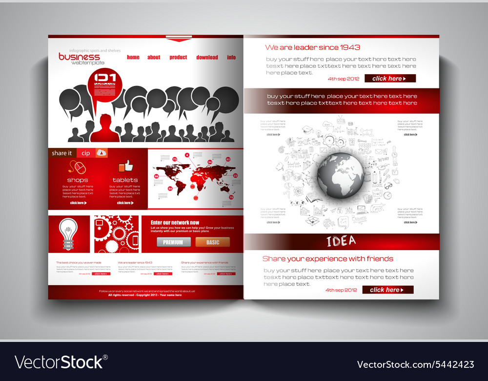 Bi Fold Brochure Template Design Or Flyer Layout Vector Image