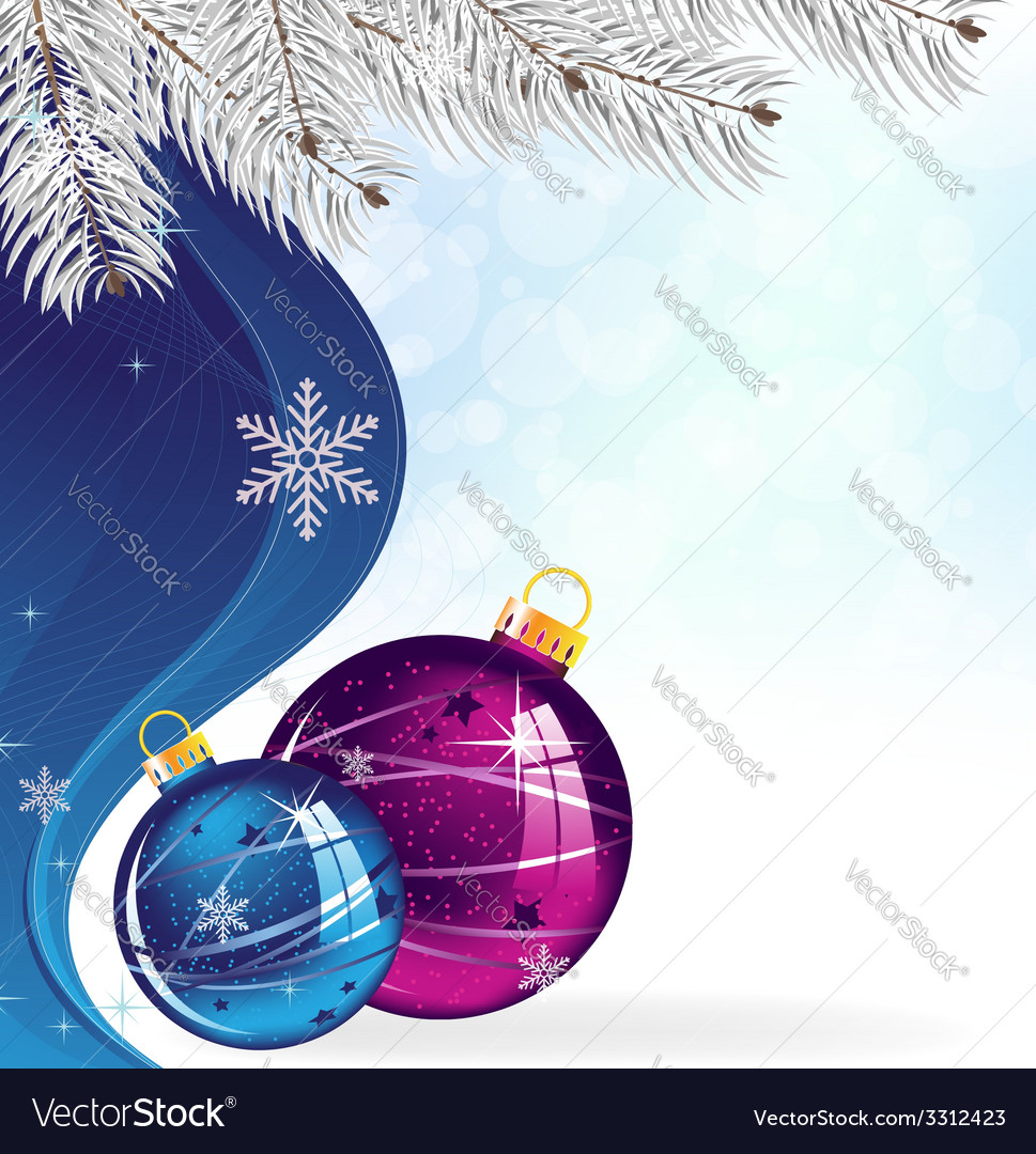 Blue and purple Christmas tree balls vector image