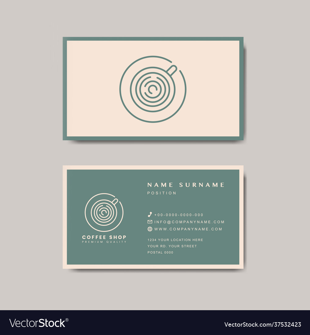 Coffee shop business card template Royalty Free Vector Image Regarding Coffee Business Card Template Free