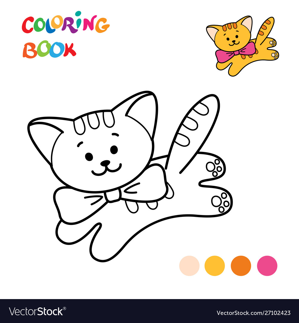 Coloring Page Outline Cartoon Cat Royalty Free Vector Image
