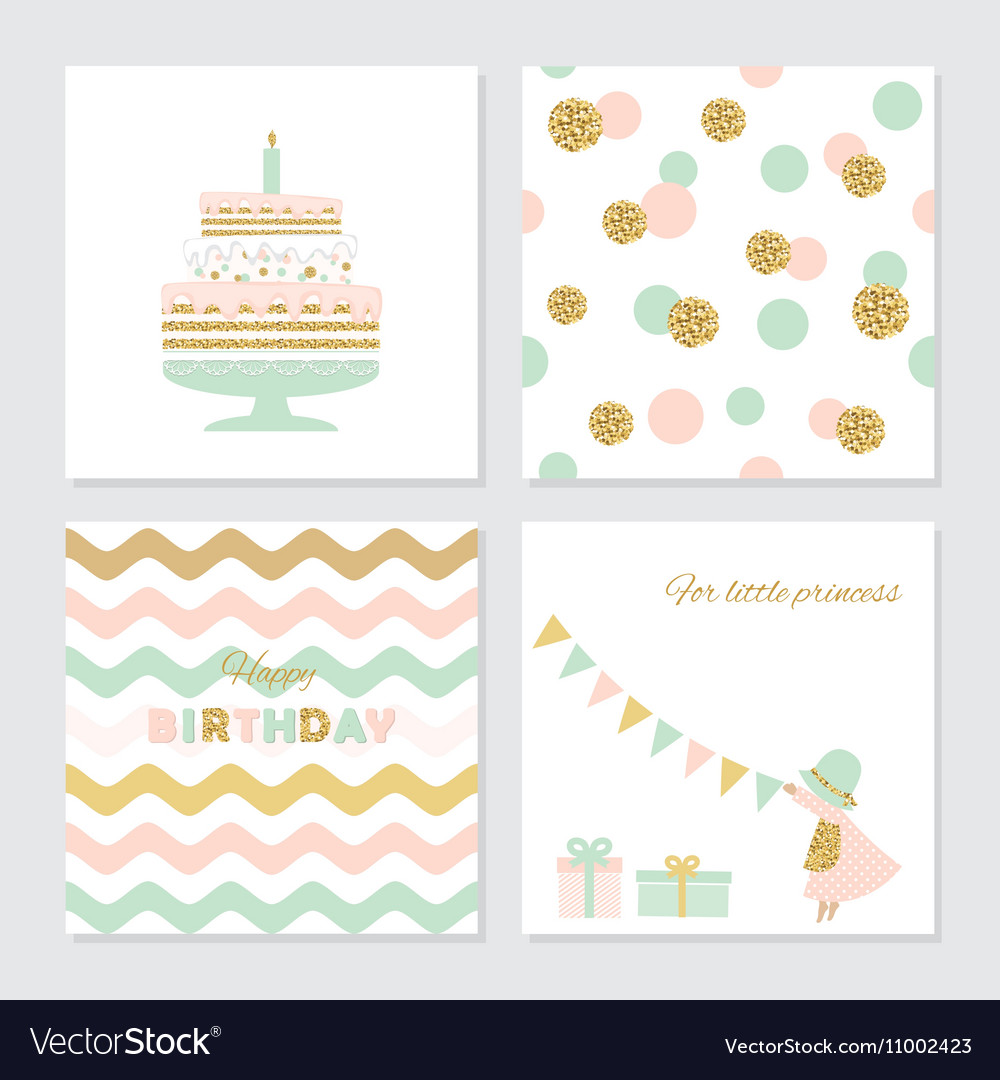Cute Birthday Cards With Gold Confetti Glitter Vector Image