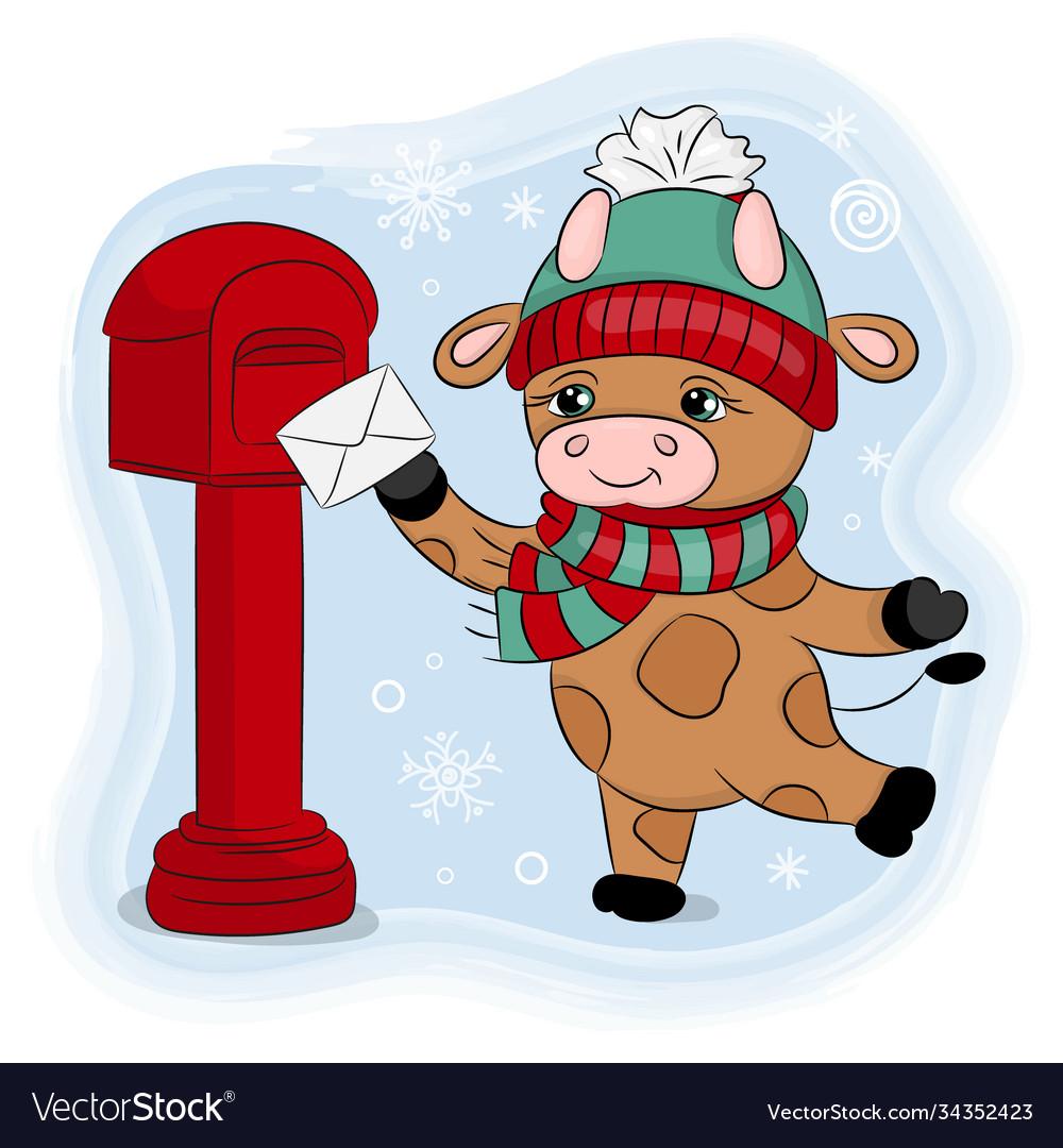 Cute cartoon bull a winter hat sends a letter set