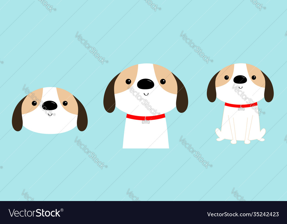 Dog face body sitting puppy icon set red collar
