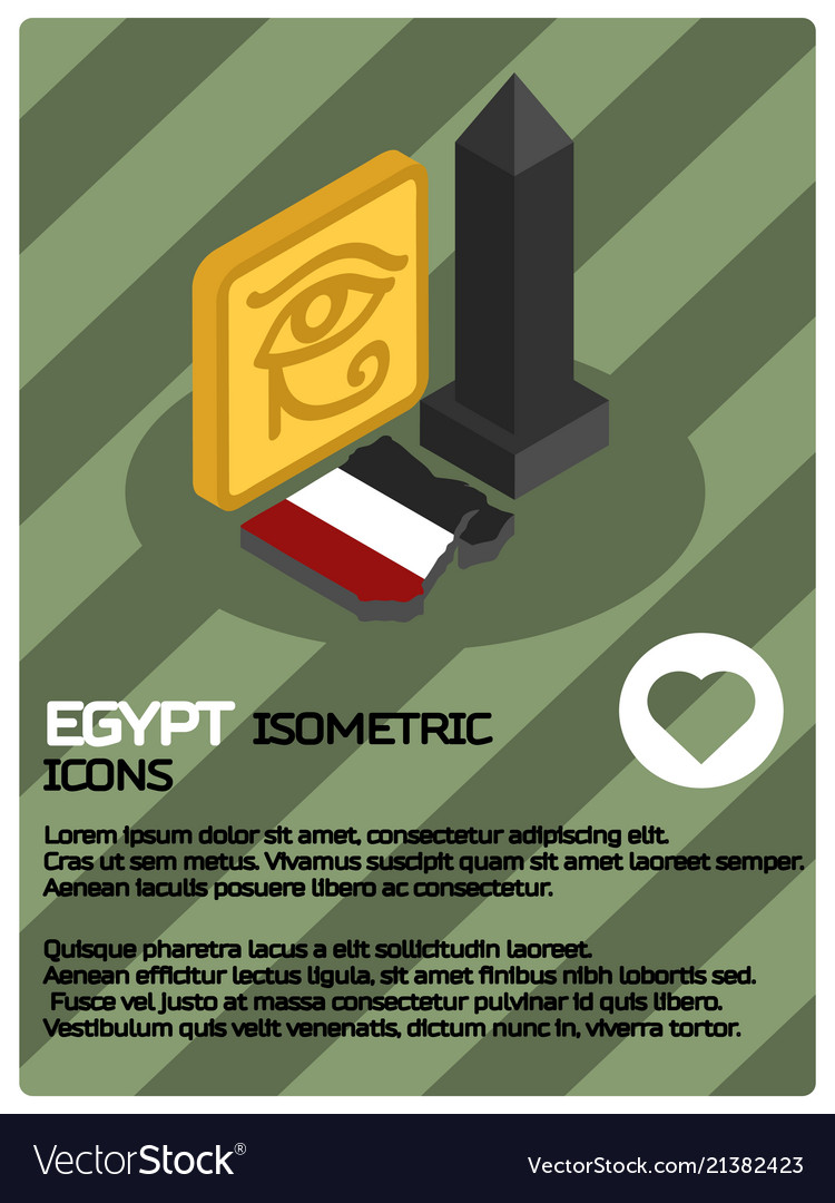 Egypt color isometric poster