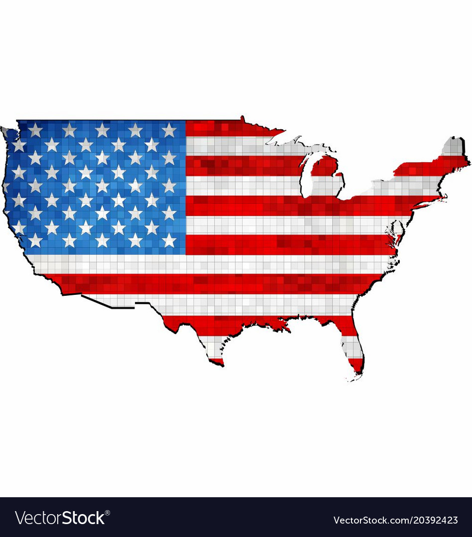 Grunge usa map with flag inside Royalty Free Vector Image