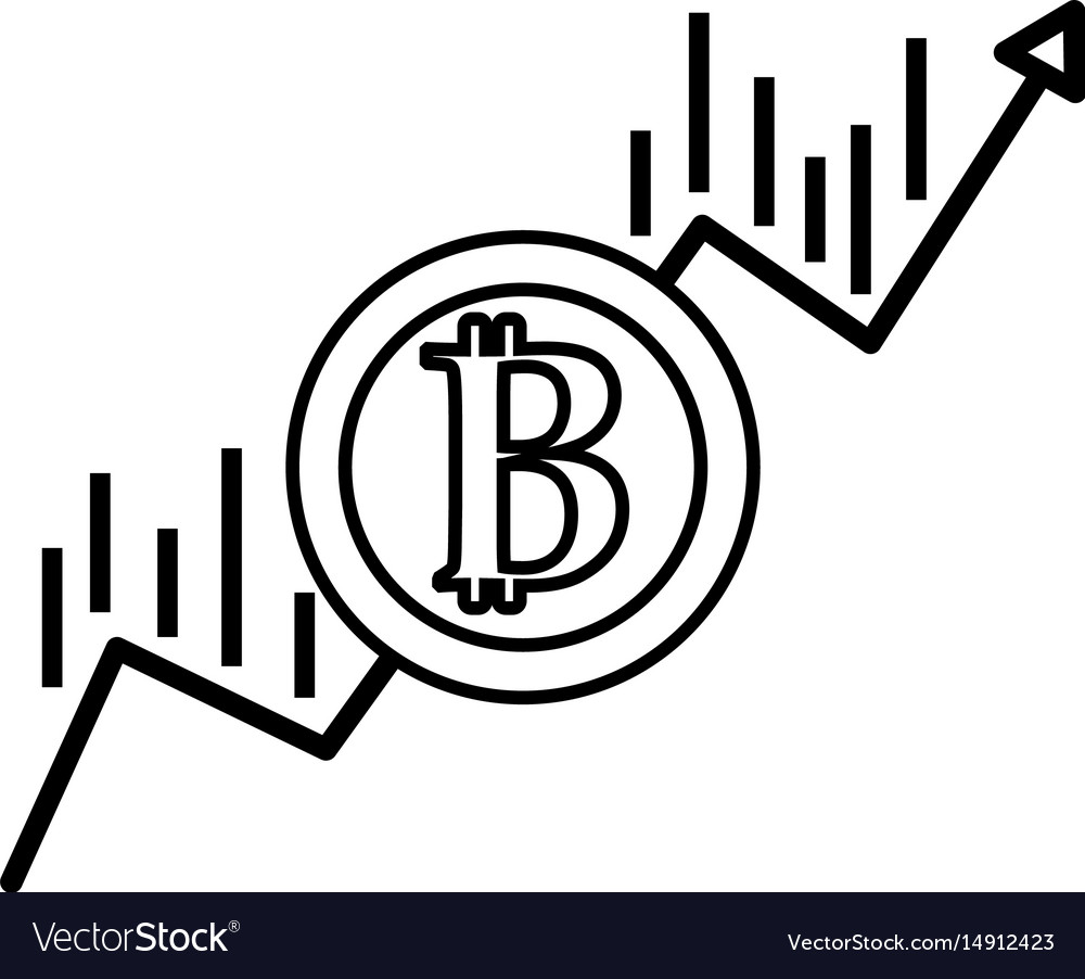 Line financial arrow up to bitcoin currency