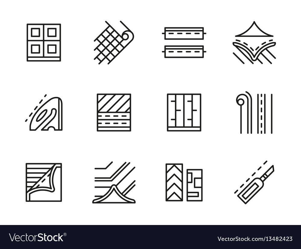 Linoleum black line icons set
