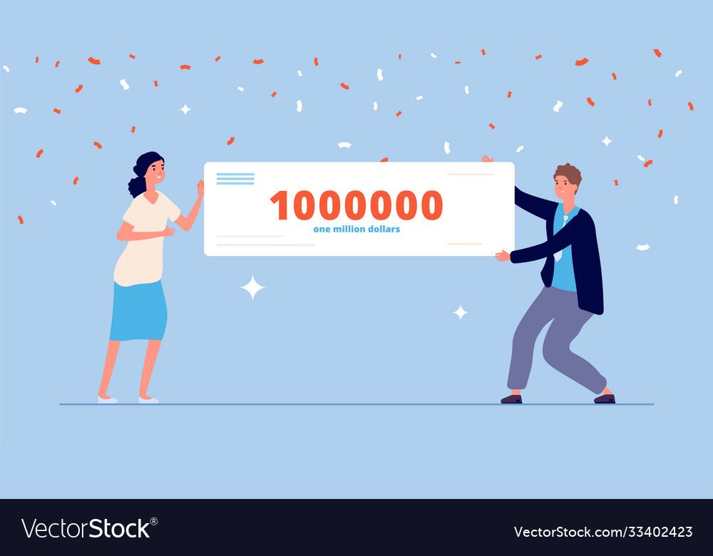 People holding money prize lottery winner