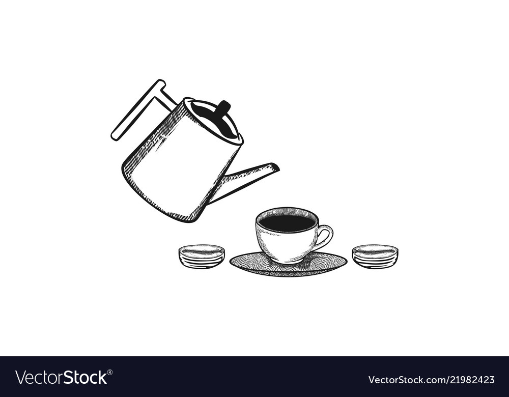 Pouring coffee into coffee cup logo design