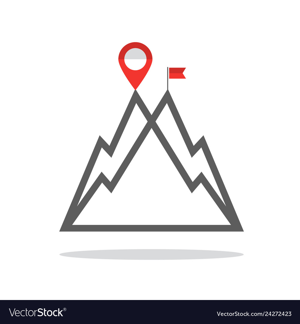 Reaching the mountain top symbol with mountains
