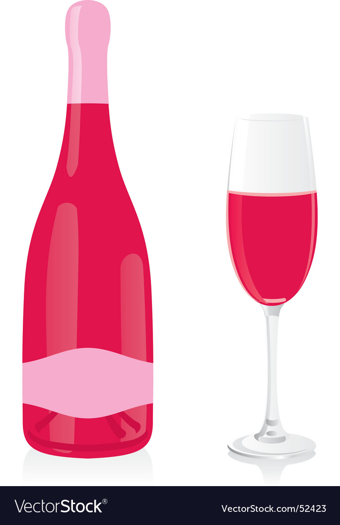 Rose champagne bottle and glass