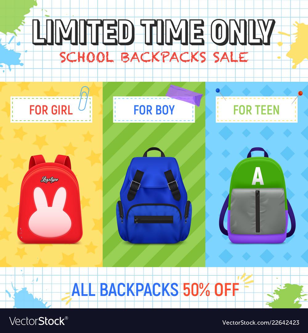 School backpacks sale background