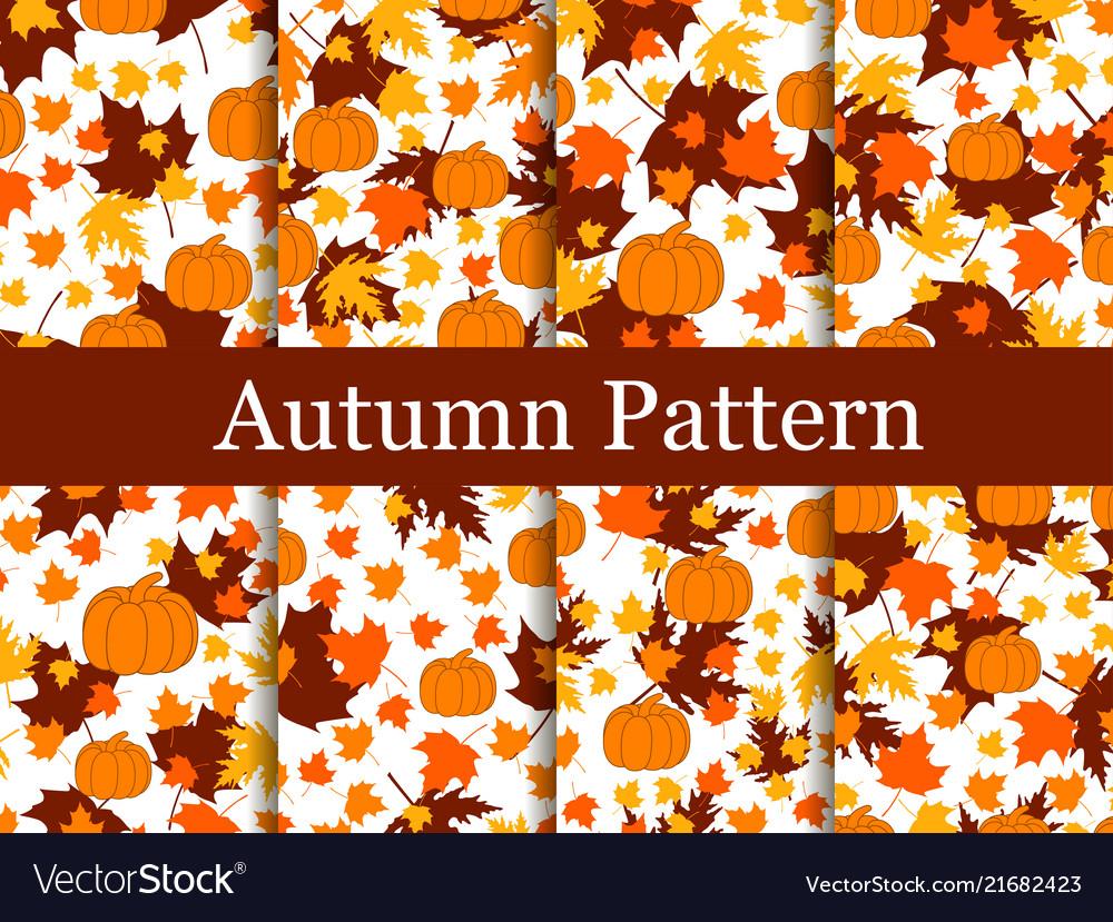 Set of seamless patterns of autumn themes